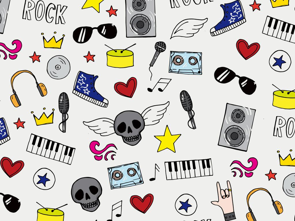 耳机翅膀鼓收音机卡通背景音乐背景元素音乐元素元素背景卡通元素卡通