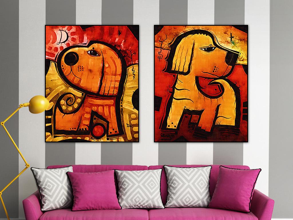 可爱狗装饰画油画