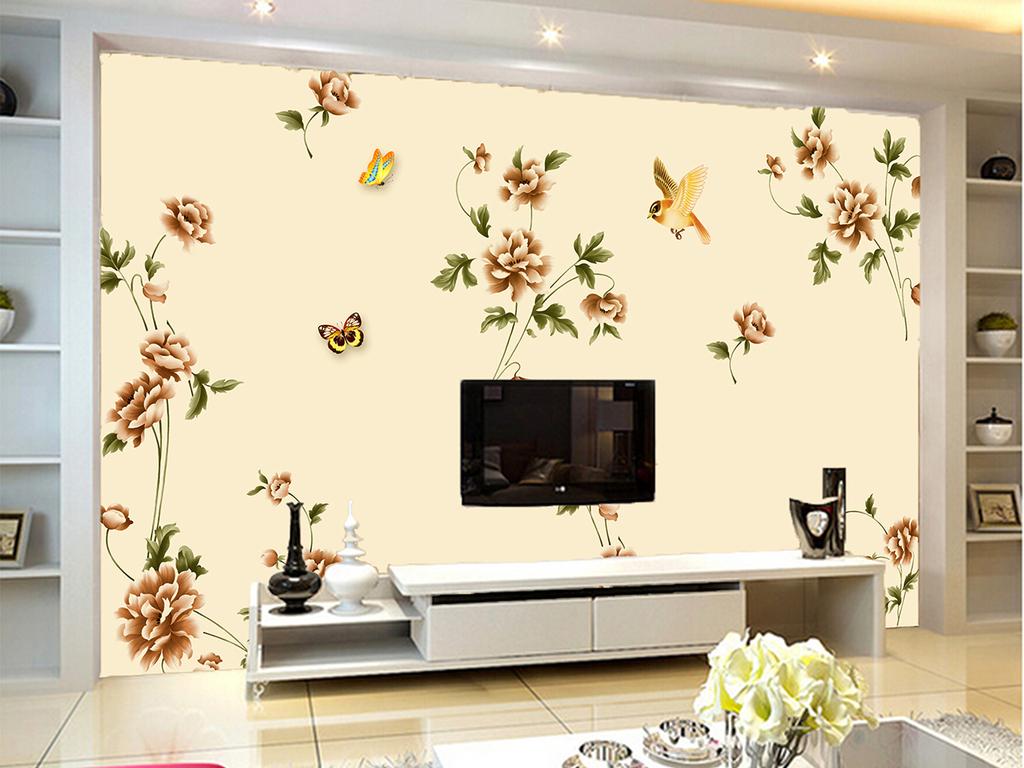 现代简欧风格手绘花鸟电视背景墙