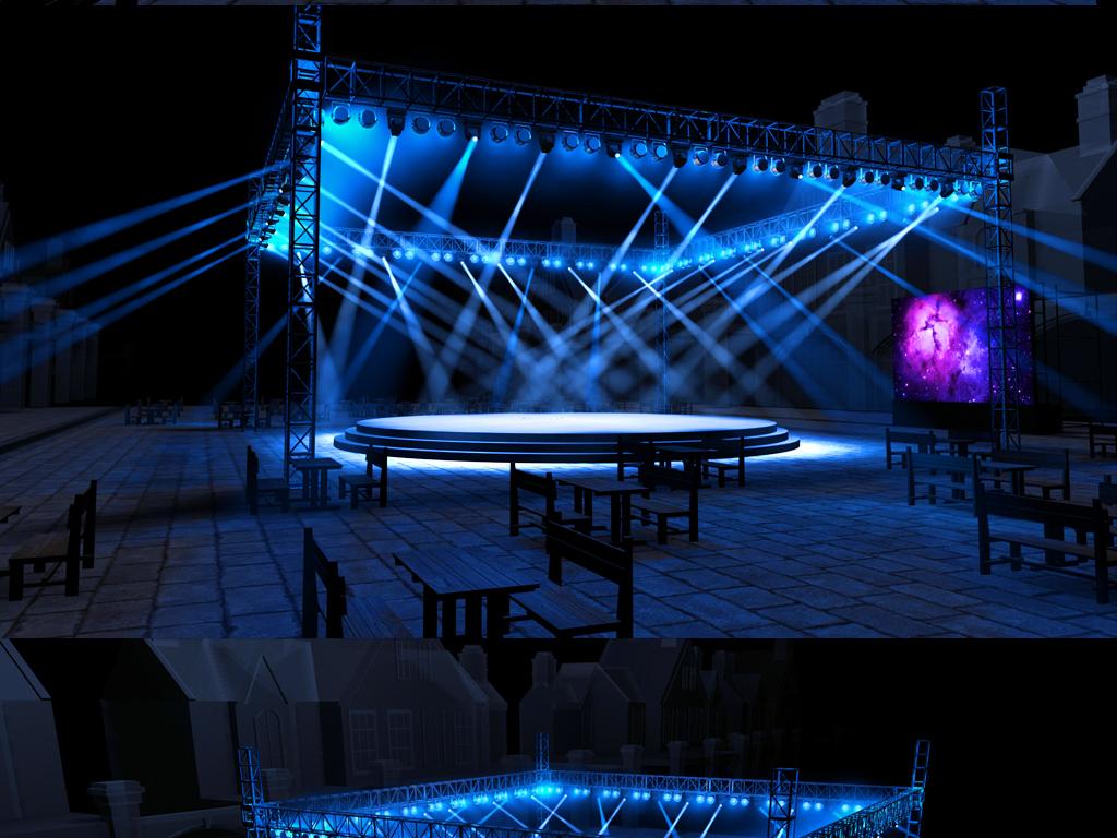 户外广场圆形四面开放小舞台max模型