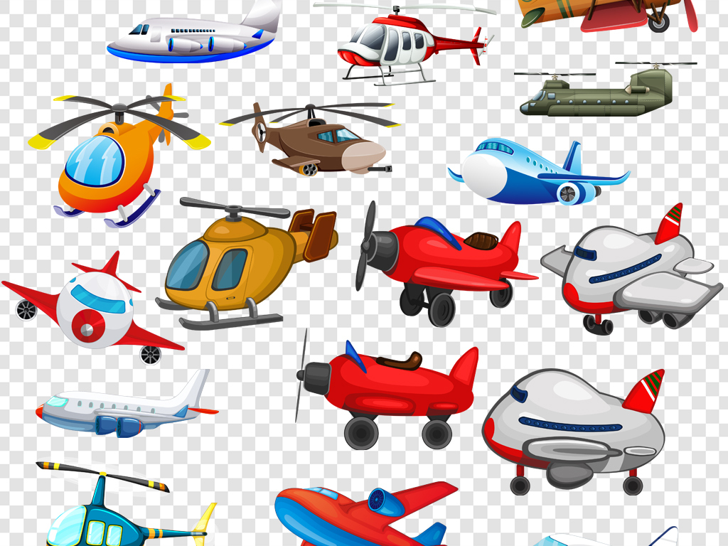 卡通手绘飞机直升机png海报素材