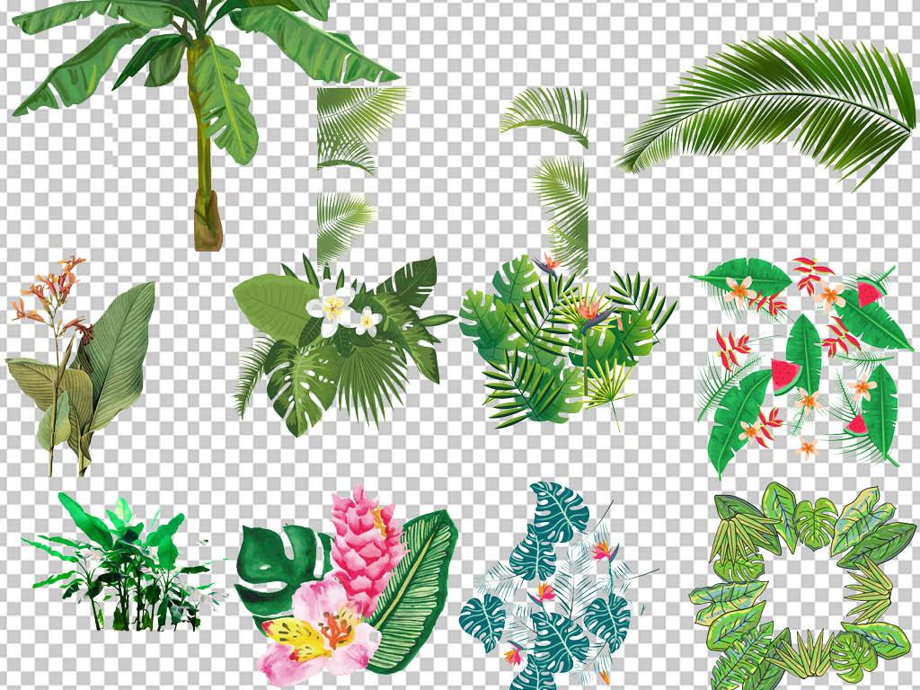北欧简约小清新叶子植物无框装饰画元素图片