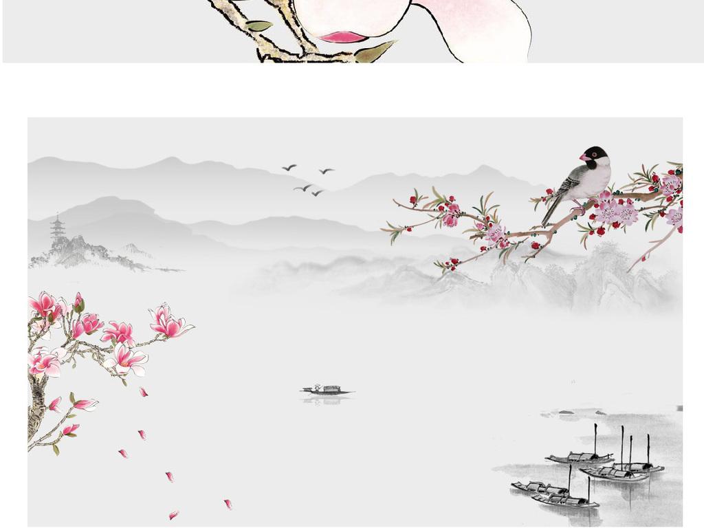手绘中式简约水墨山水花鸟背景墙