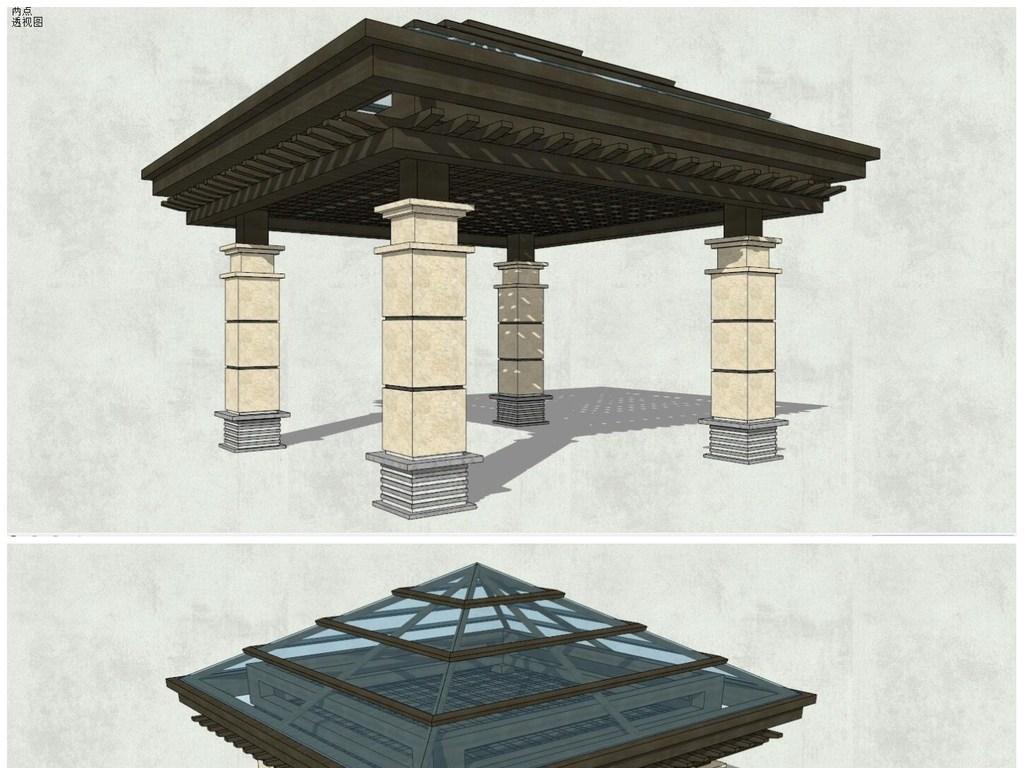 超精细欧式风格四角亭子SU模型素材图片