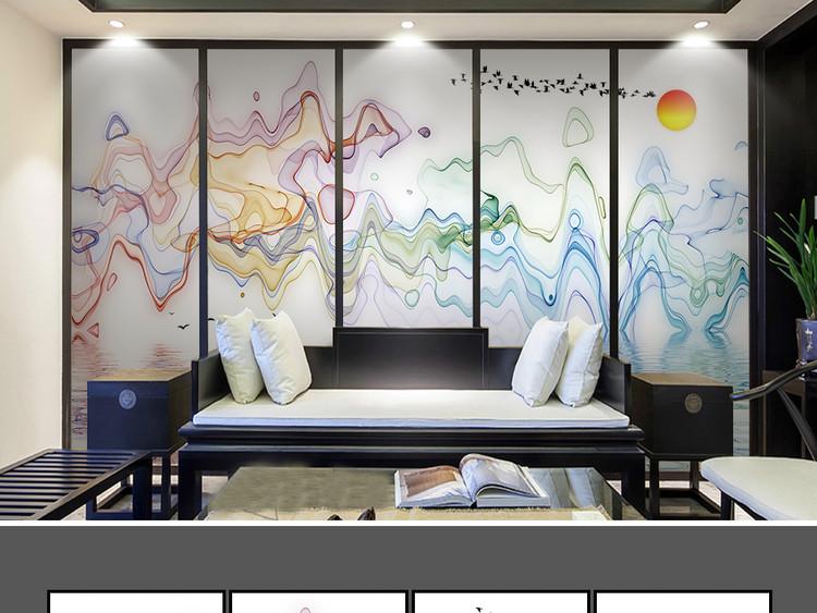 新中式水墨山水抽象装饰画电视背景墙壁画