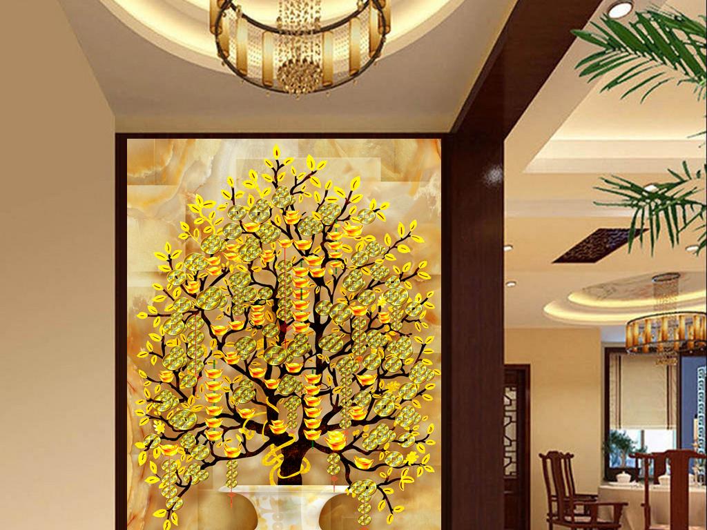 背景墙|装饰画 玄关 玉雕玄关 > 摇钱树发财树玉瓶金鱼玄关  素材图片