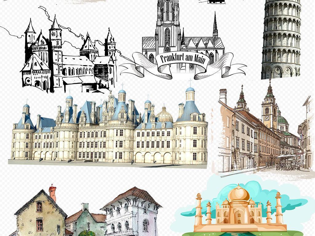 手绘素材复古素材建筑png免扣图片素材