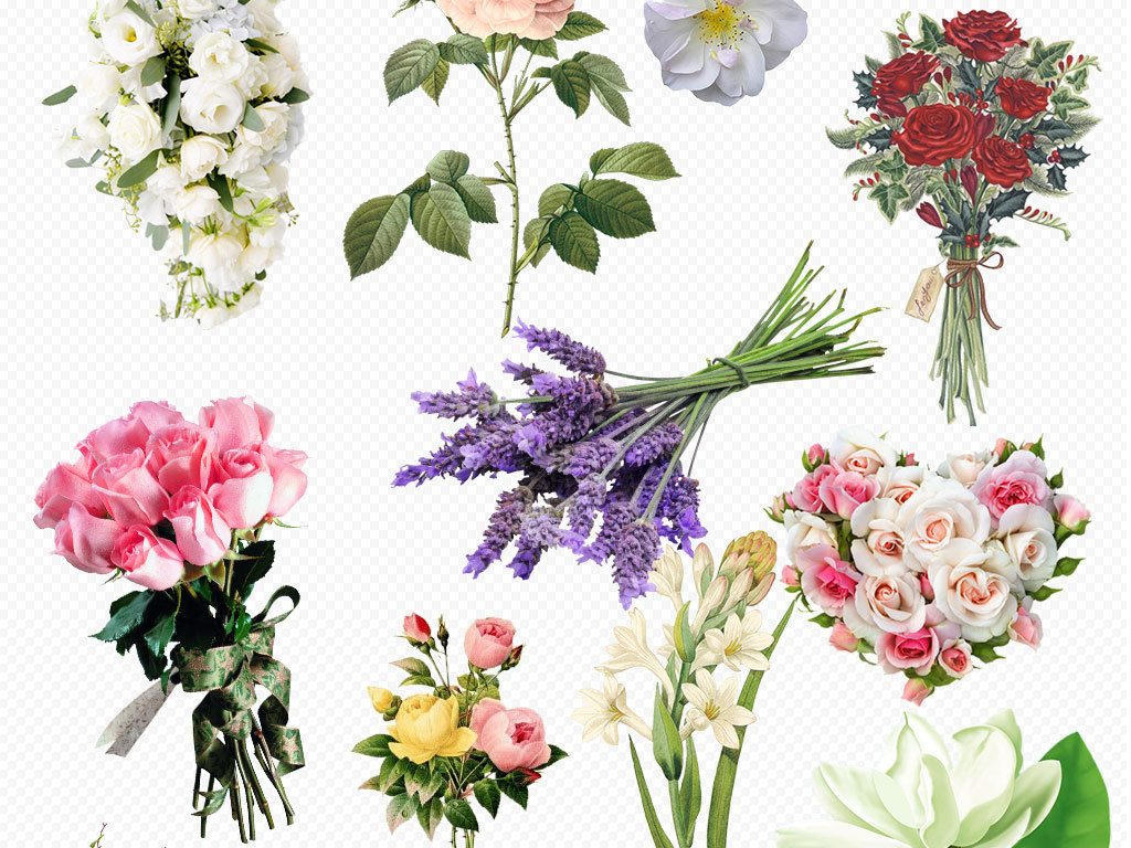 粉色唯美花卉花环手绘花朵素材png复古