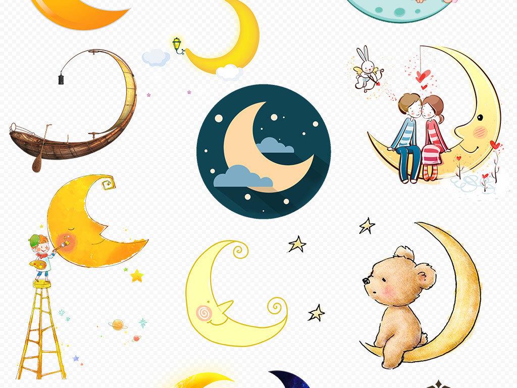 手绘可爱月亮卡通矢量图星星和月亮太阳月亮星星月亮星星卡通星星月亮