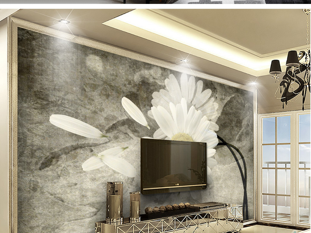 创意手绘菊花电视沙发背景墙装饰画