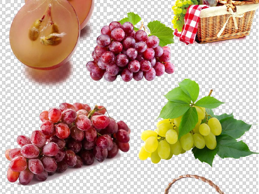 新鲜葡萄绿叶手绘水果免抠png设计素材