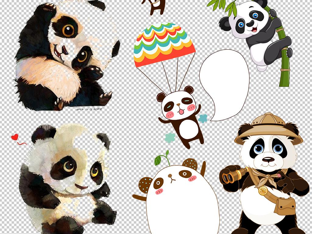 熊猫素材                                          熊猫背景手绘