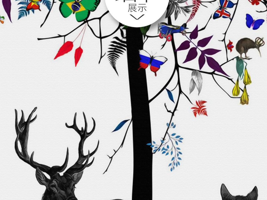 唯美手绘麋鹿大树小鸟玄关背景墙