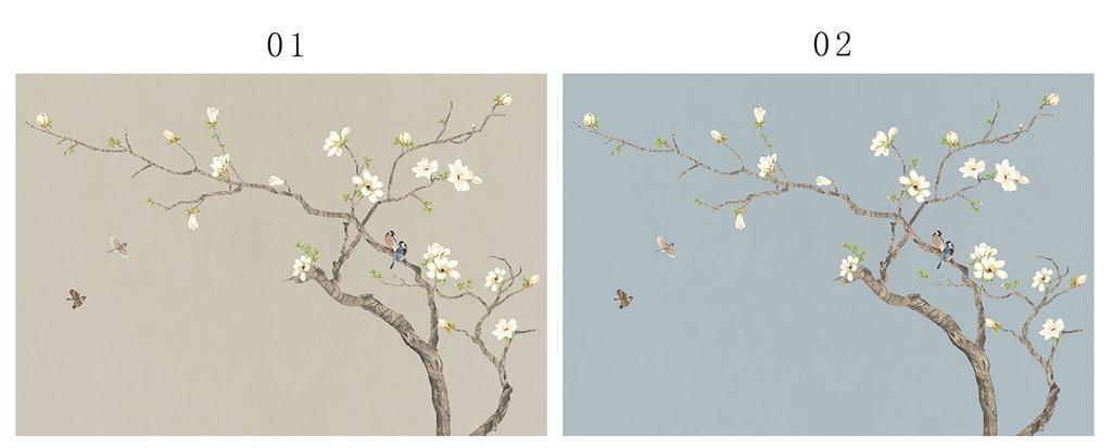 新中式手绘工笔花鸟国画花鸟电视背景墙壁画