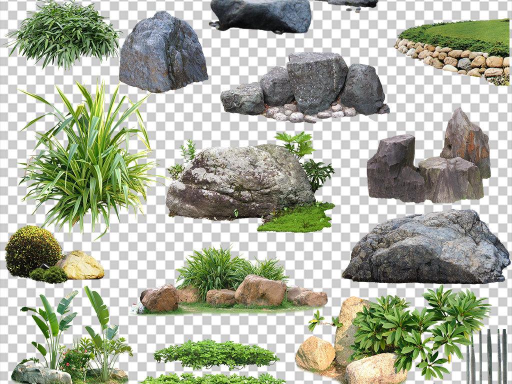 水景图海报素材元素旅游花草设计素材假山精品花草设计素材建筑效果图