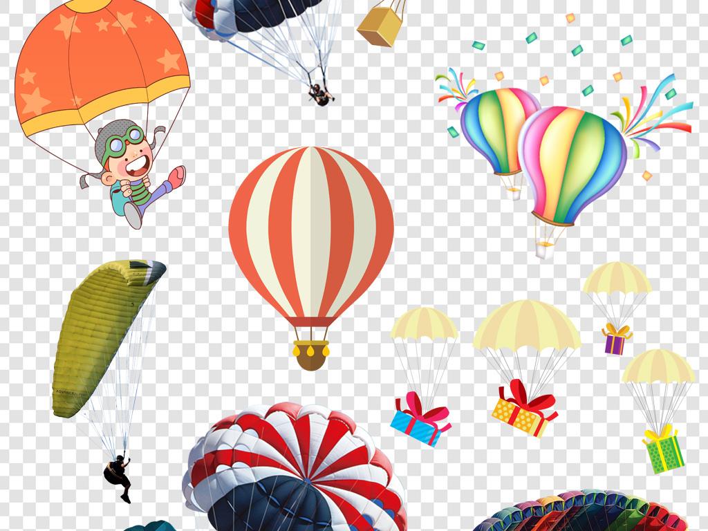 卡通手绘彩色降落伞png海报素材