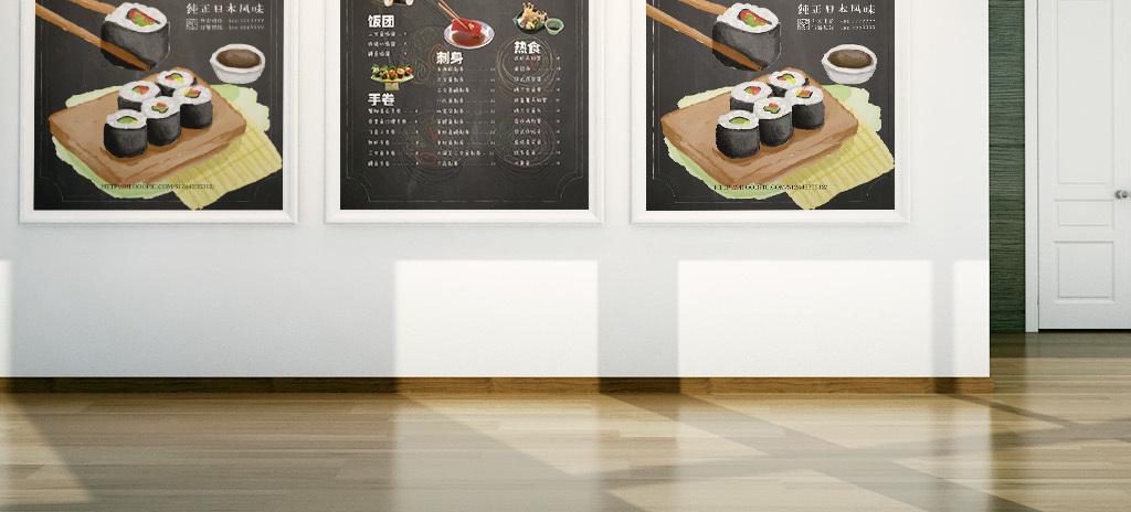 黑板粉笔手绘日本寿司料理矢量菜单海报模版