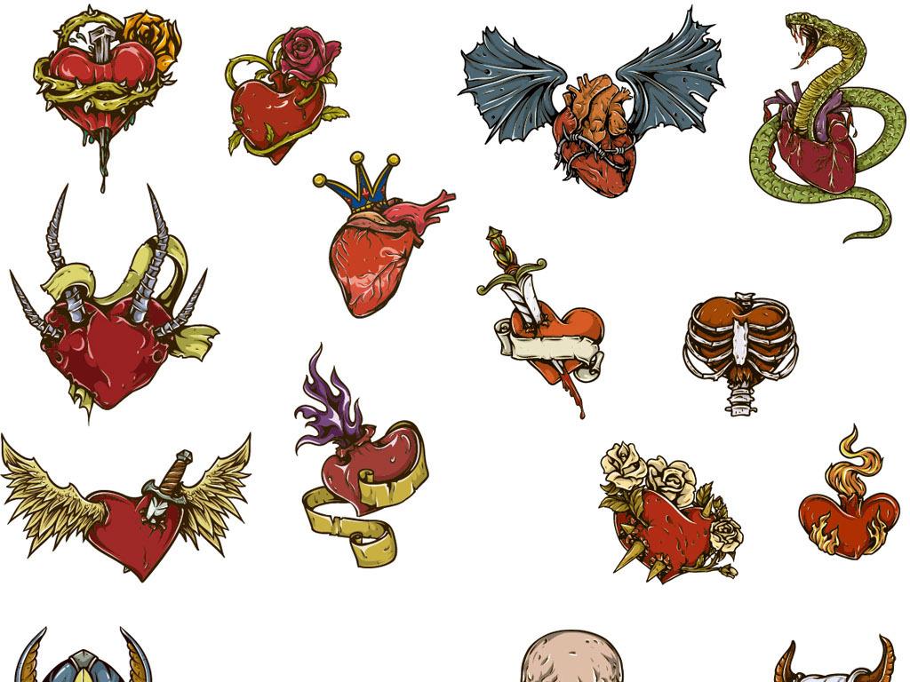 彩绘手绘恐怖骷髅头心脏运动元素t恤图案矢量图案设计