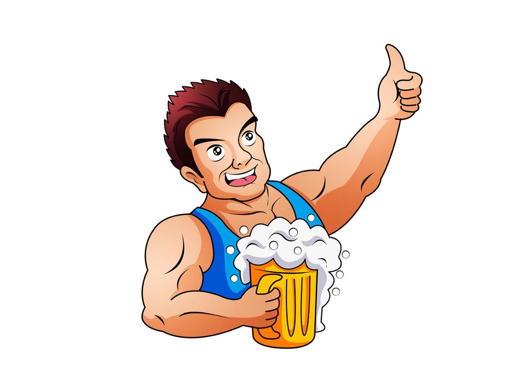 卡通人物大力士卡通啤酒饮品卡通