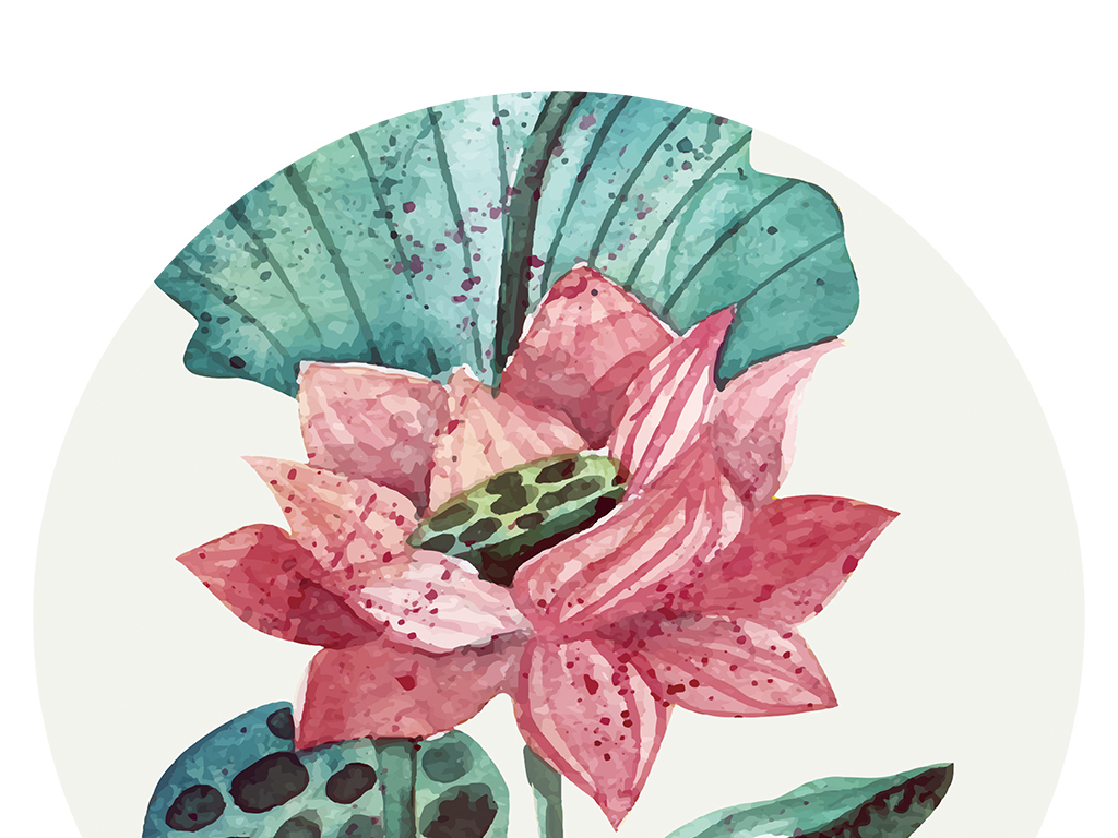 现代简约手绘水彩荷花装饰画