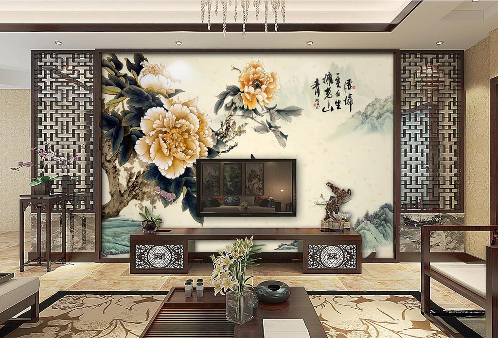 新中式手绘牡丹花鸟电视沙发背景墙国色天香