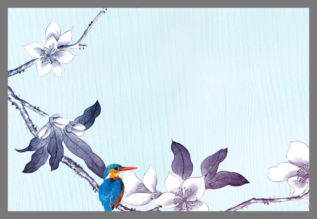 工笔画花朵电视背景墙