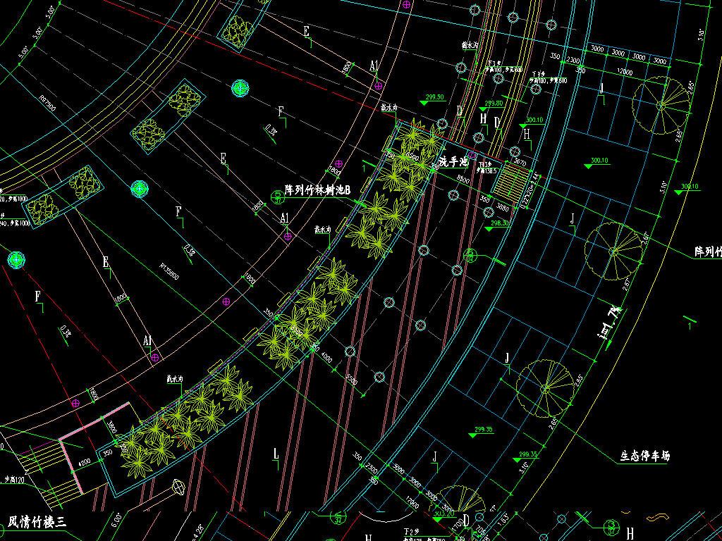 dwg)多套停车场cad平面图小区商超地下车库地下车场cad立面图规划图