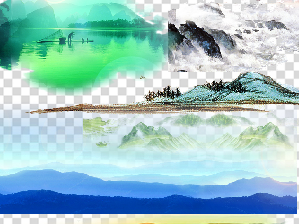 png山水画水彩山水画中国风装饰画