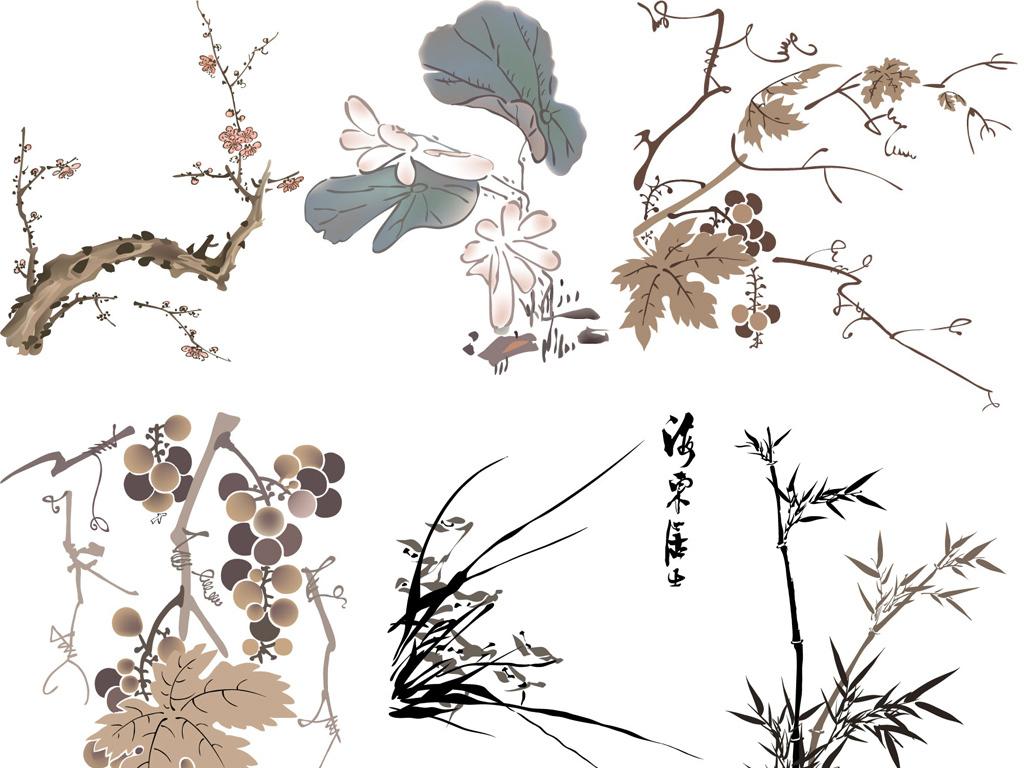 梅兰菊竹水墨画矢量图植物水默画ai格式矢量图