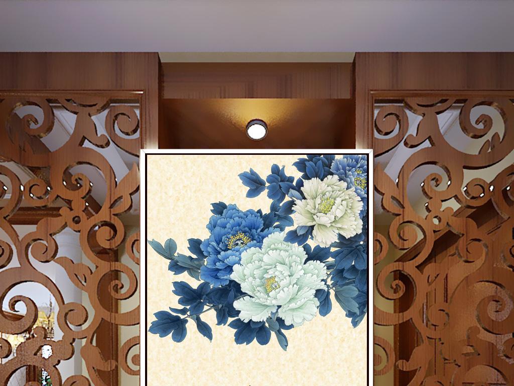 开富贵中式简约玄关背景墙装饰画挂画图片