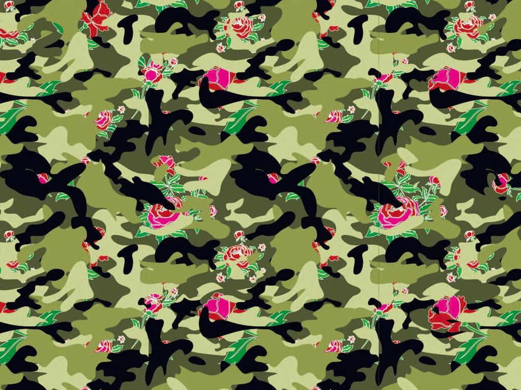 迷彩植物花卉图案背景