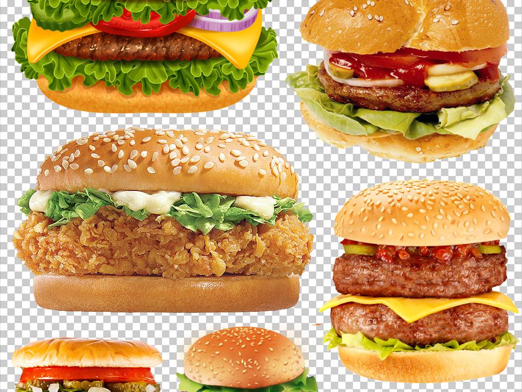卡通美味汉堡包海报png素材