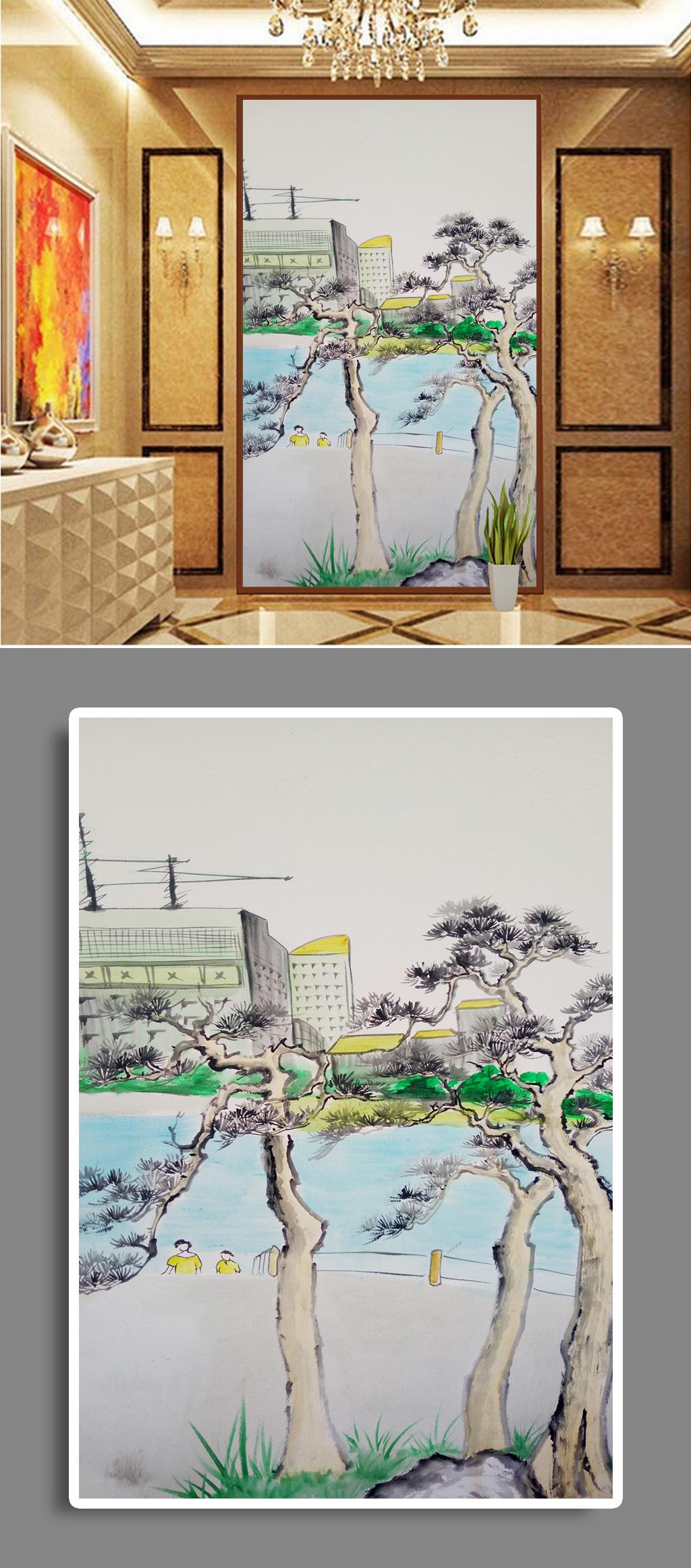 手绘建筑油画装饰画壁画墙绘