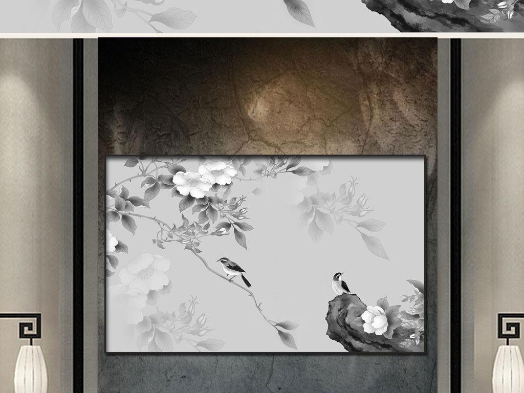 新中式简约手绘花鸟山水诗境背景墙电视墙