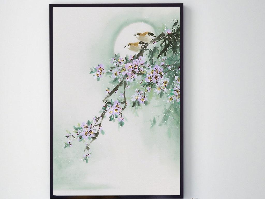手绘花鸟月亮装饰画