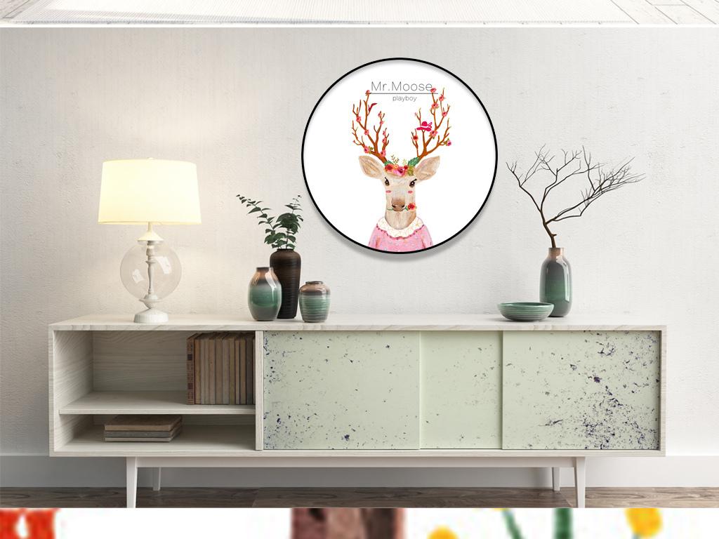 手绘创意简欧风格圆形鹿头客厅装饰画无框画