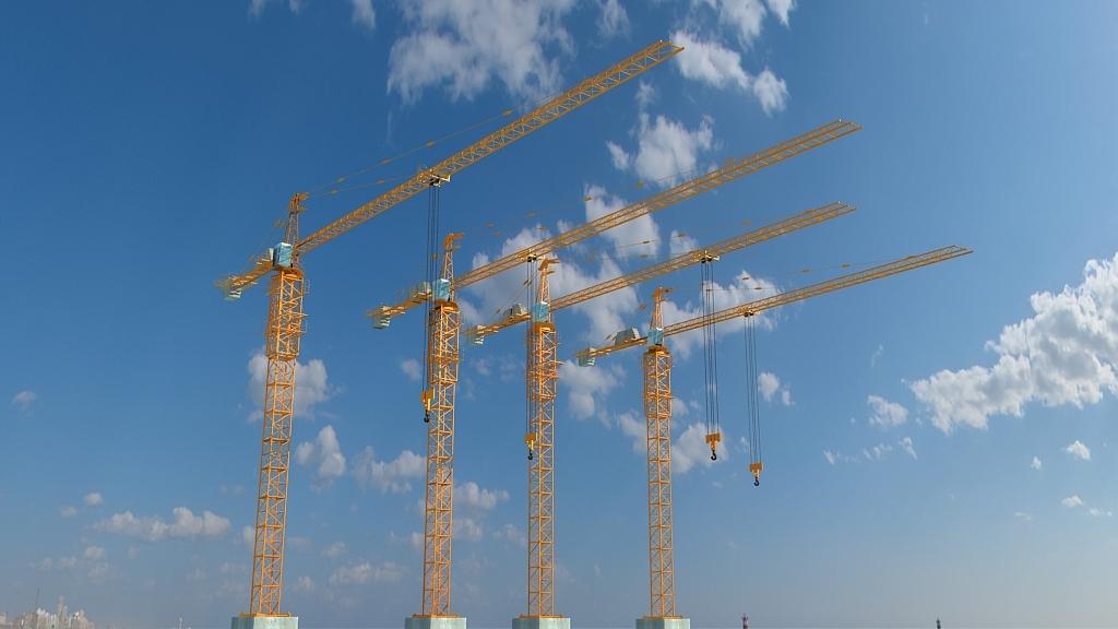 3d大型塔吊工地吊车模型