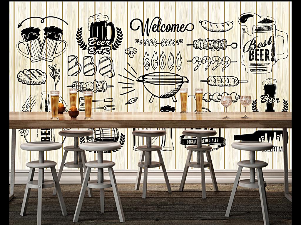 个性手绘木板啤酒烧烤背景墙