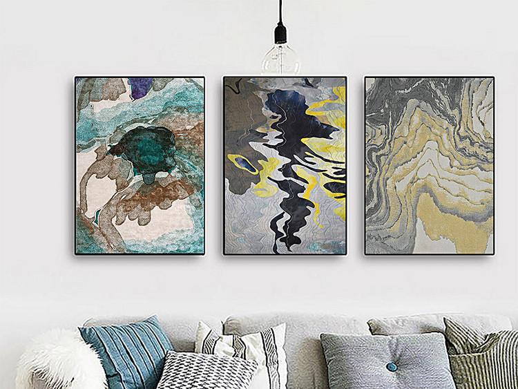 北欧装饰画抽象装饰画几何线条麋鹿现代客厅三联