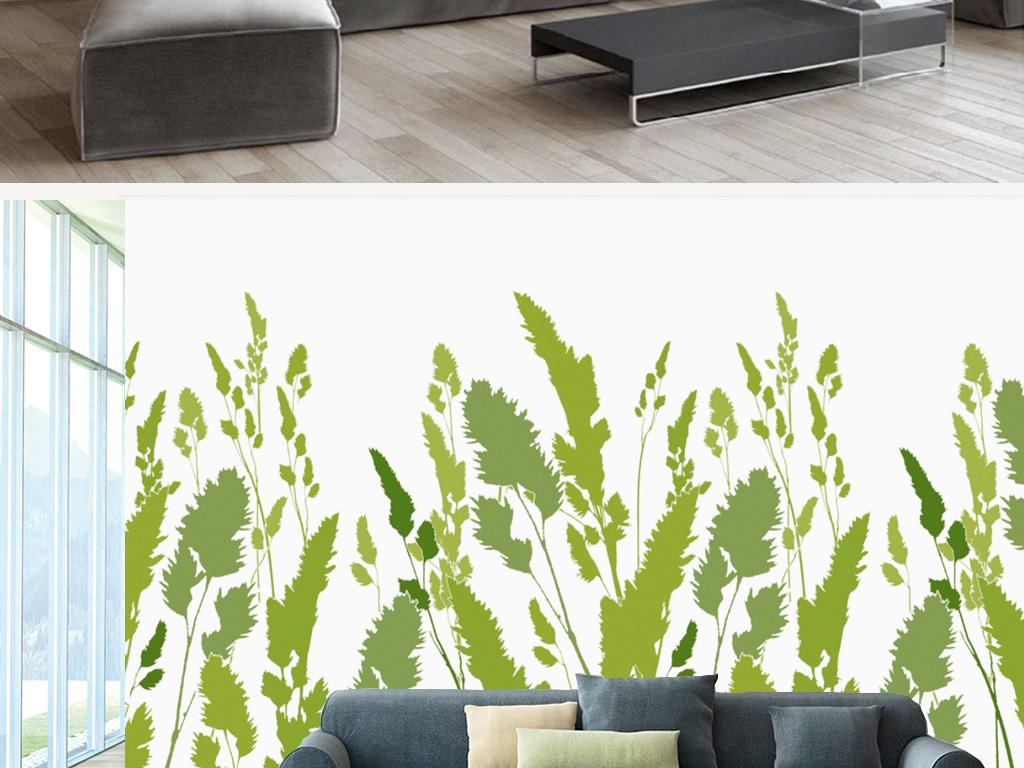 北欧手绘绿叶树叶客厅背景墙