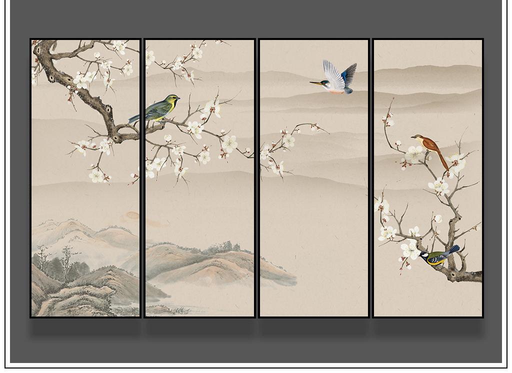 新中式花鸟手绘山水工笔画客厅壁画装饰画