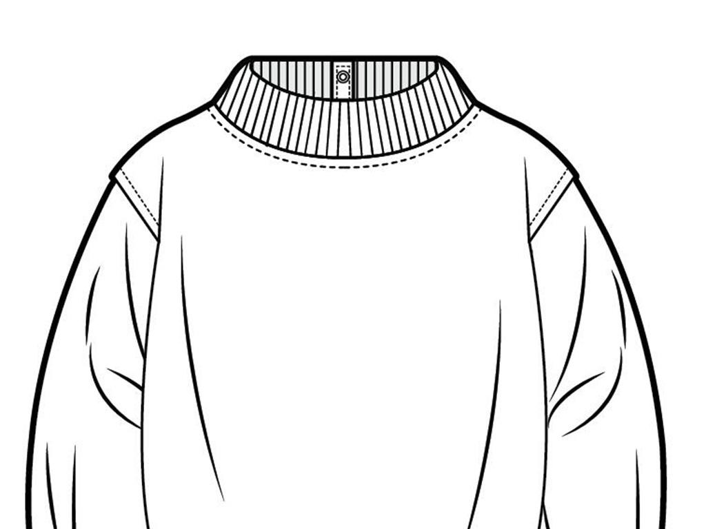 免抠直接使用服装款式图卫衣