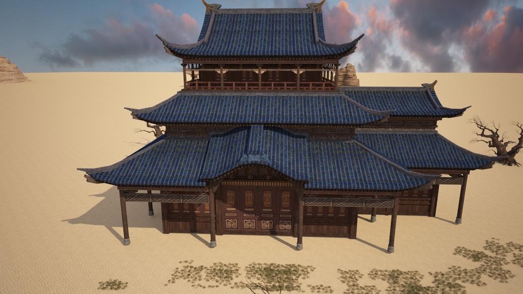 中国古代特色房子3d模型的渲染材质灯光