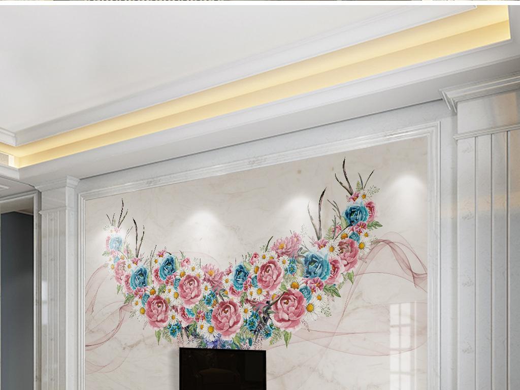 北欧手绘麋鹿艺术花卉鹿角大理石背景墙