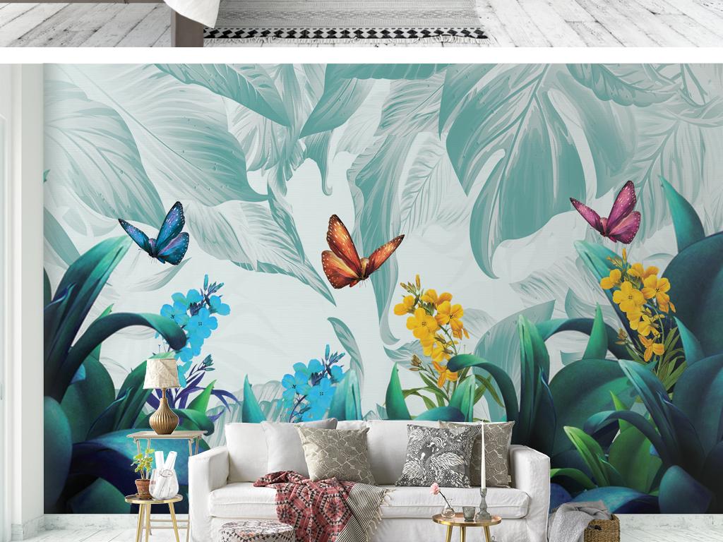 手绘热带植物背景墙壁画壁纸图片设计素材_高清psd(.