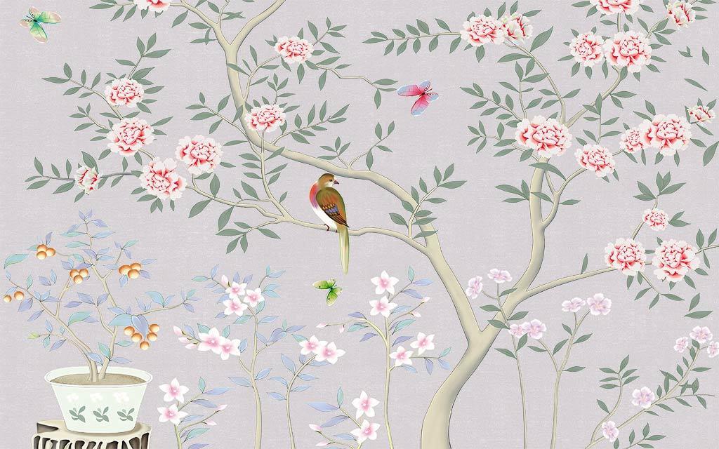 psd)手绘花鸟工笔画中国风壁