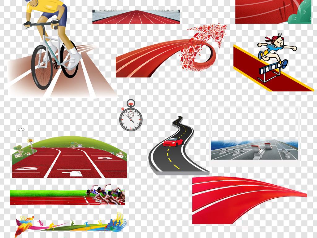 卡通手绘跑道赛道png海报素材