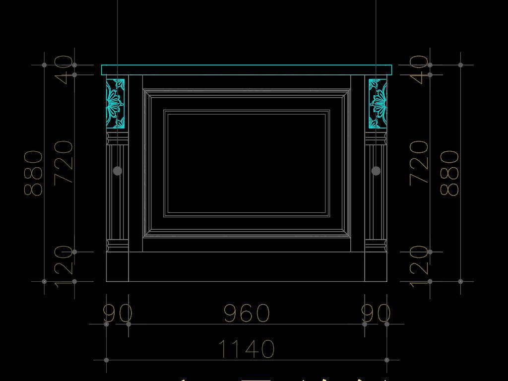 壁炉博古架展厅设计美式厨房橱柜实木实木橱柜图纸岛台美式橱柜cad木