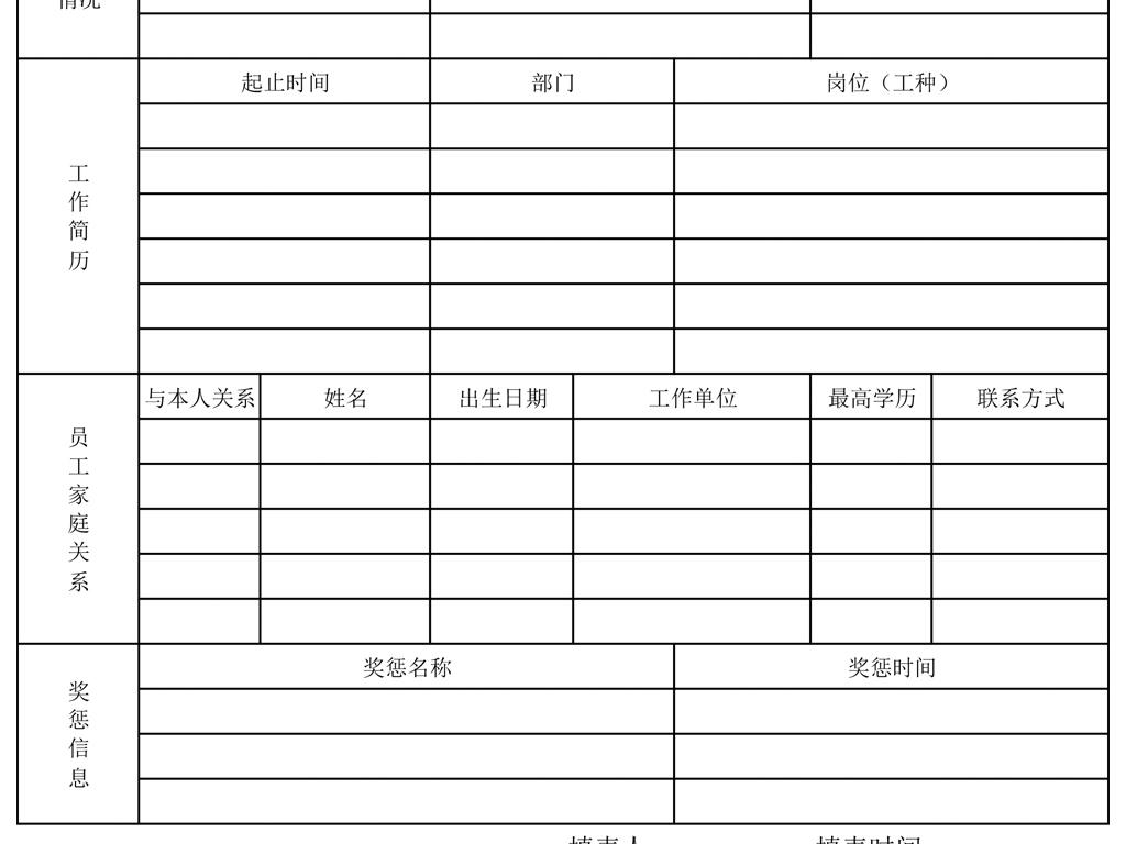 员工入职登记表模板