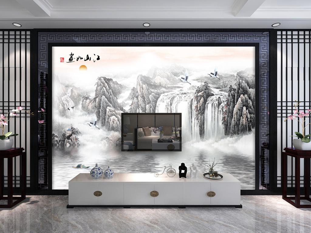 仙鹤青松背景新中式背景墙沙发背景墙床头背景墙条屏背景抽象山川背景